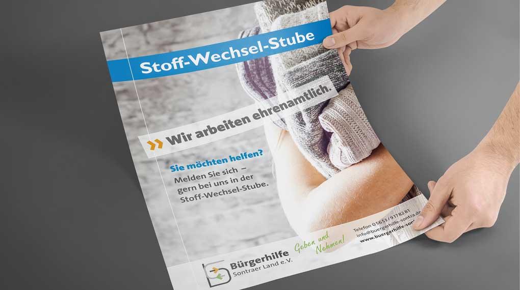 Bürgerhilfe Sontra Plakat Stoff-Wechsel-Stube
